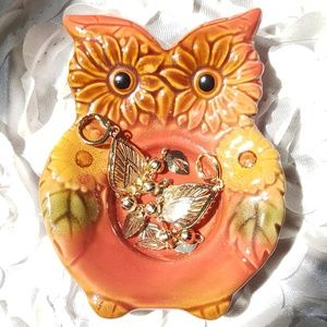 Other - Sunflower Owl Trinket Tray/ Candle Holder